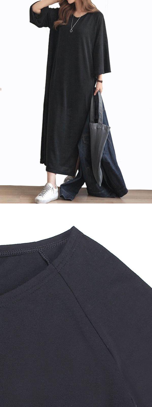 Women casual pure color batwing sleeve side slit loose t-shirt dresses maxi dresses hippie style #3/4th #sleeve #maxi #dresses #maxi #dresses #navy #blue #maxi #dresses #under #$10 #maxi #dresses #under #$50