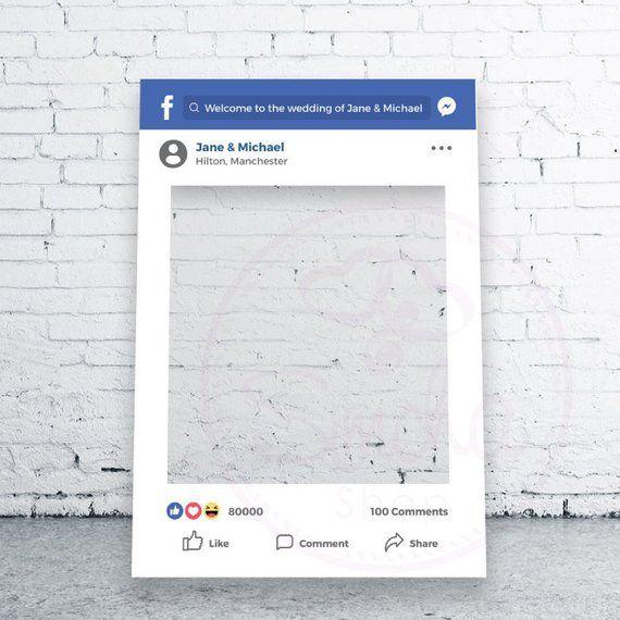 Facebook Selfie Frame Printed Social Media Photobooth Etsy Facebook Frame Instagram Frame Photo Booth