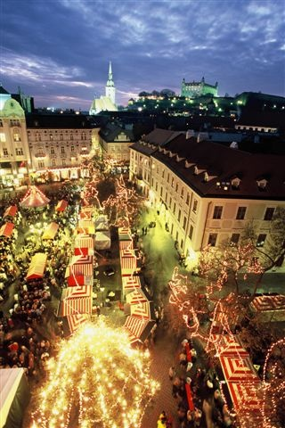 Christmas markets, Bratislava. We love the red and white striped stalls!