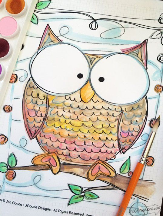 [FREE] Owl Coloring Pages from 100 Directions/ How CUTE would this be to use in your Fall décor, just color as you wish and then frame.