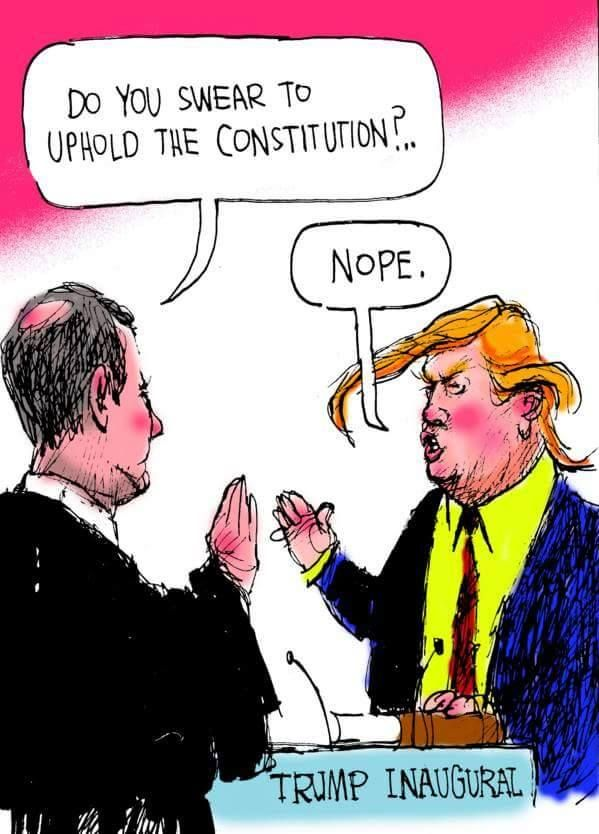 """Do you swear to uphold the Constitution?"" Trump's reply ""Nope."""