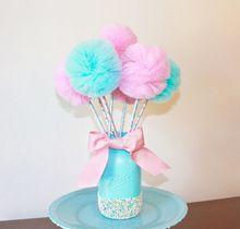 Zucchero filato Tulle Pom Pom Bacchette Rosa e Blu Centrotavola Bomboniere-10 PZ set(China (Mainland))