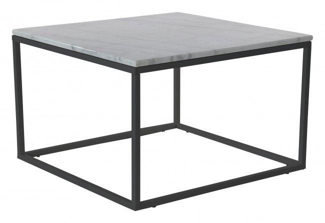 Accent soffbord marmor kvadrat, 75x75, vit/svart
