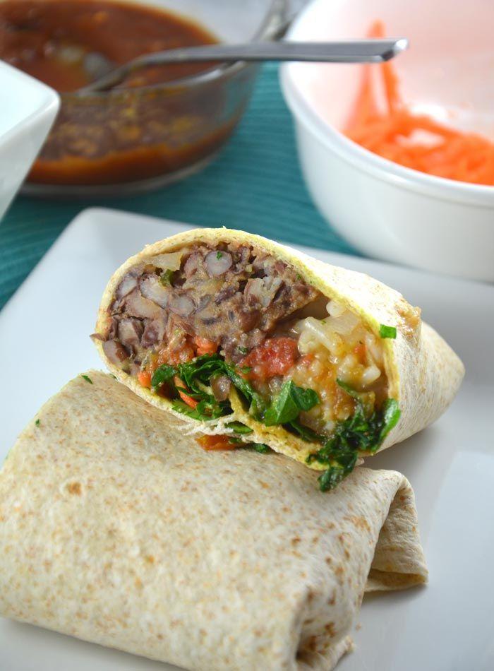 Chili Lime Black Bean and Red Rice Burritos - Vegan, Gluten-Free
