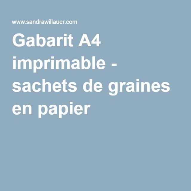 Gabarit A4 imprimable - sachets de graines en papier