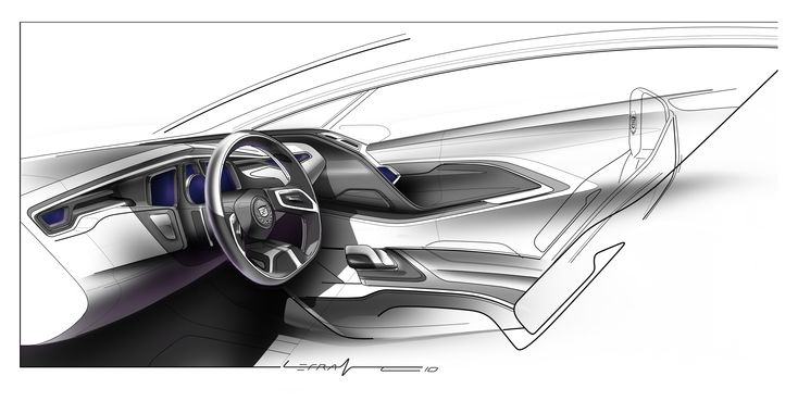 Cadillac Interior Sketch Nice door lines