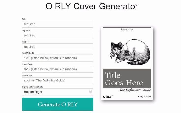 O RLY Book Cover Generator es un divertido generador de portadas de libros de tipo meme. Para crear simpáticas imágenes que compartir en las redes sociales.