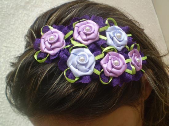 tiara de flores tiara 4 fita de renda,flor de cetim,laço de cetim flor dobrada,fuxico