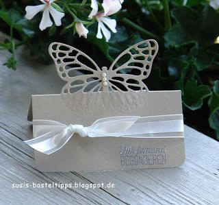 handcrafted pop up Butterfly Place Card  ... tutorial ... partical die cut technique ... Stampin' Up!