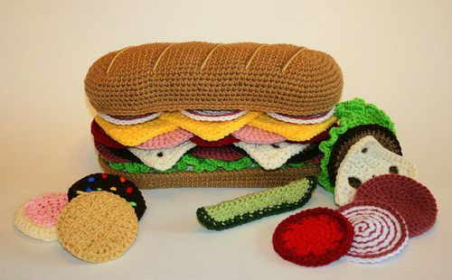 Crocheted foods by textile artist Cynthia Rae who runs Candypop Creations over on Etsy.