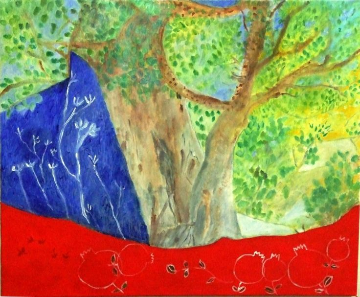 U-Boutique Shops   Happy Rosh Hashanah painting of Sycamore Trees and Pomegranates   danielle'art