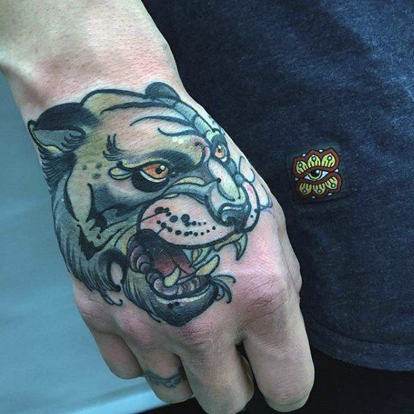 Tiger Unique Hand Mens Old School Tattoo Ideas