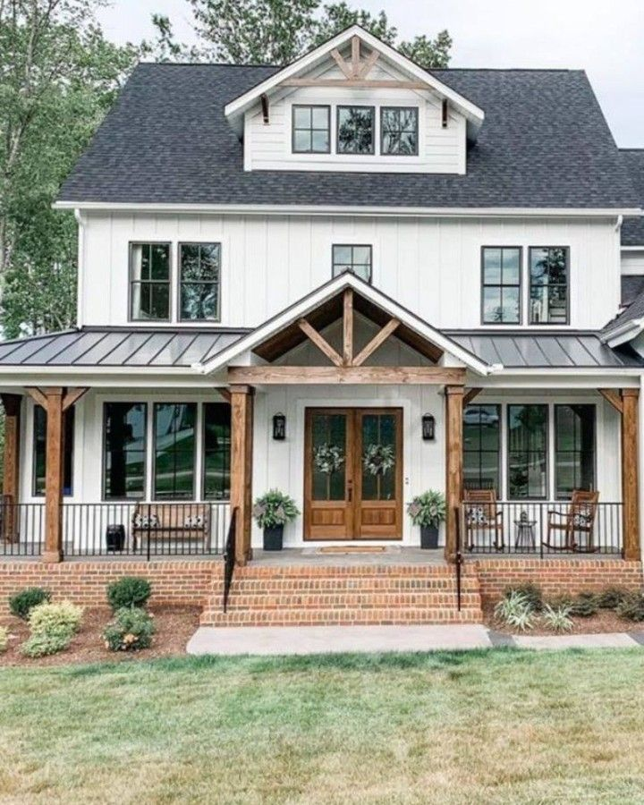 Farmhouse Is My Style On Instagram Perfect Modern Farmhouse Design Covered Porch With Rocking Chairs For In 2020 Dream House Exterior Farmhouse House House Styles