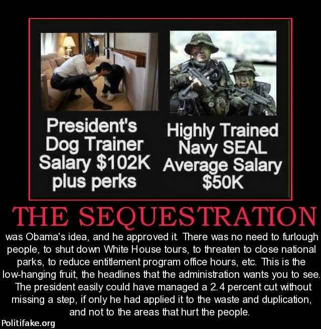 OBAMA CARTOONS: Obama's Dog Trainer makes twice the Salary of a Navy SEAL