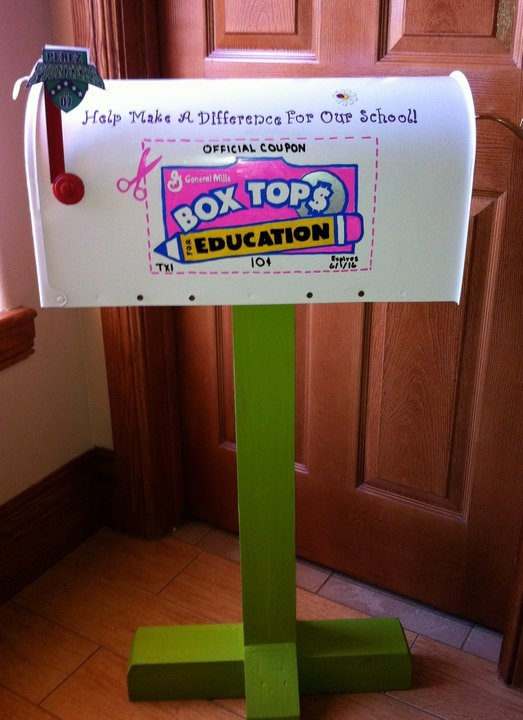 Standard 4.5-4.11 interacting with other educators and contributing to the school. Teachers can help contribute to the school by collecting box tops from parents. What a fun way to collect Box Tops for Education... In a mailbox love it!