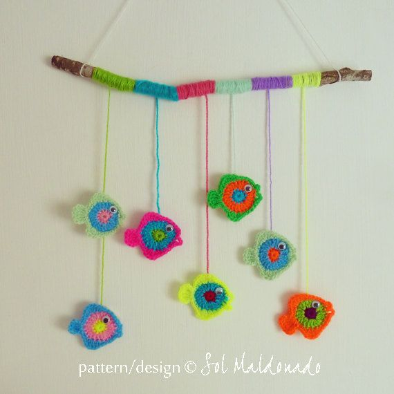 Crochet baby mobile pattern & applique Fish  PDF  Photo von bySol, $4.00