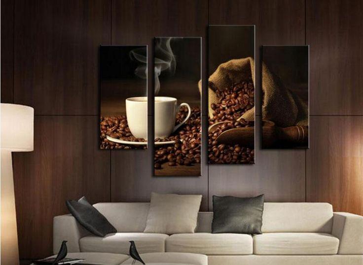 4 Stuks Bruin Een Kop Koffie En Koffieboon Muur Art Schilderij De Foto Canvas Voedsel Voor Home Decor (houten Ingelijst)(China (Mainland))