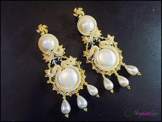 Handmade big soutache earrings with swarovski by 75marghe75