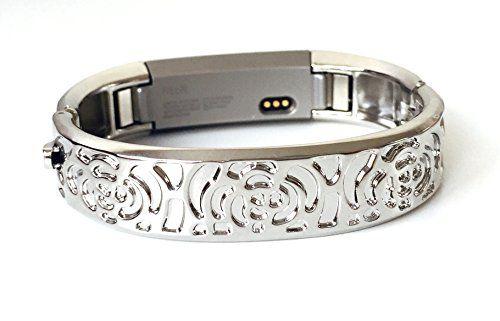 BSI Silver Metal Bracelet For Fitbit Alta Fitness Tracker Flowers Design Medium Size 5.8 - 6.5 inches