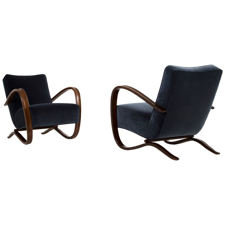 Jindrich Halabala Lounge Chairs, Reupholstered and Refurbished | From a unique collection of antique and modern armchairs at https://www.1stdibs.com/furniture/seating/armchairs/