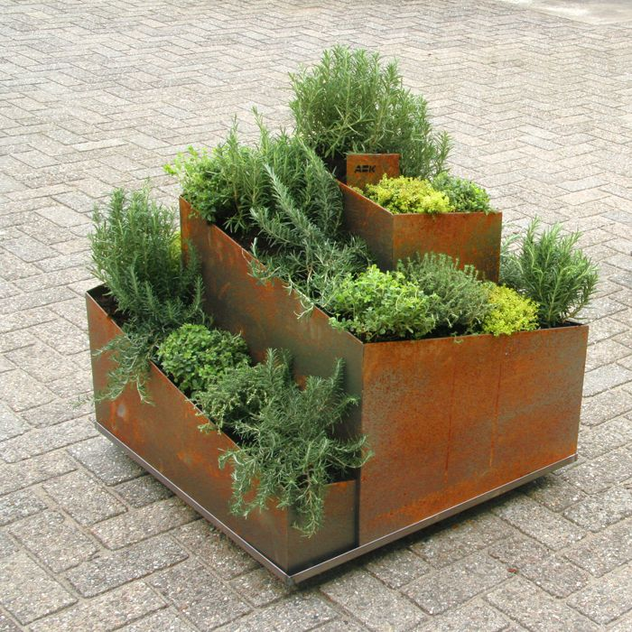 Herb spiral copper planters herb garden vegetable garden corten steel