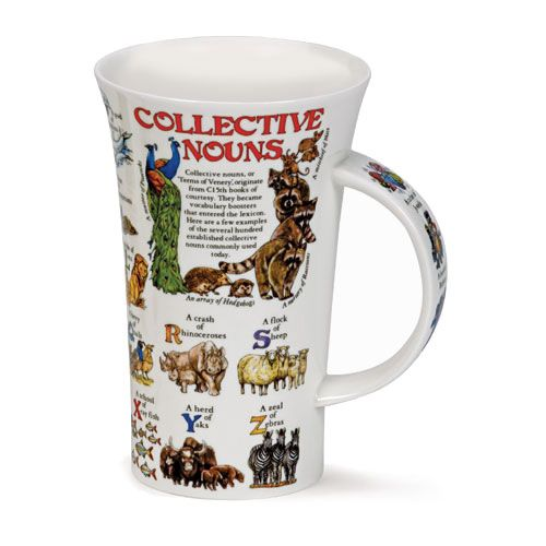 "Have you ever wondered what might be the collective noun for camels? Or pandas? How about zebras? With this fascinating and informative mug, you will not have to wonder any longer!   Made of fine bone china in England by Dunoon, a market leader in fine bone china and stoneware mugs, each 6"" tall mug holds approximately 17oz."