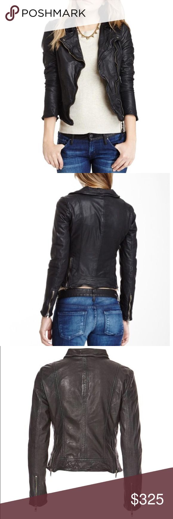 Muubaa Sabik Black Leather Biker Jacket Muubaa Sabik Biker jacket in super soft black leather. Fitted classic biker with asymmetric zip opening and leather straps. Flattering cinched back with edgy zipper vents that can be worn open or closed. Front pockets, long sleeves with zipper cuffs. Slim wires in collar and lapels add structure and allow you to style and sculpt its shape. Garment washed leather brings out the texture and character and lend a slightly distressed, vintage appearance…