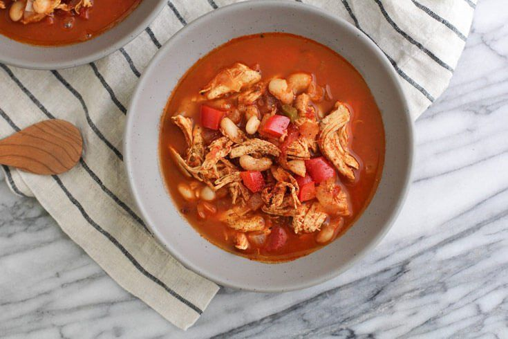 This white chicken chili recipe is my new winter favorite. It uses chicken breasts and cannellini beans for a whole lot of protein and flavor.