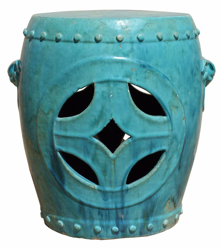 Chinese Distressed Turquoise Green Round Clay Ceramic Garden Stool cs2842S