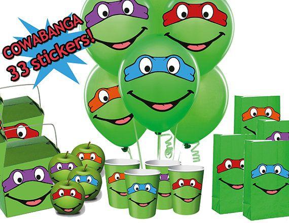 INSTANT DOWNLOAD Teenage Mutant Ninja Turtles Printable Mask Eyes & Mouth Balloon Stickers