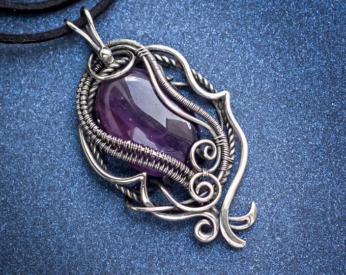 Amethyst Moon Pendant COPPER Moon Necklace