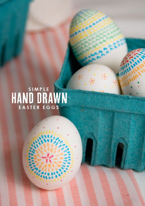 Hand Drawn Easter Eggs - Use food coloring pens for this kid-friendly Easter project. The wilder the design, the better!