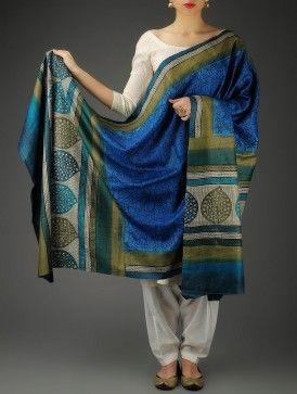Blue-Green Tussar Silk Block Printed Dupatta