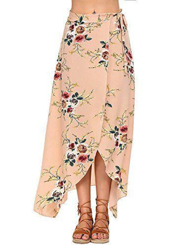 32c15945bc61 Robe de Plage Femmes Boheme Boho Été Imprimé Floral Jupe Irrégulière  Adjustable Maxi Longue Jupe Fendue