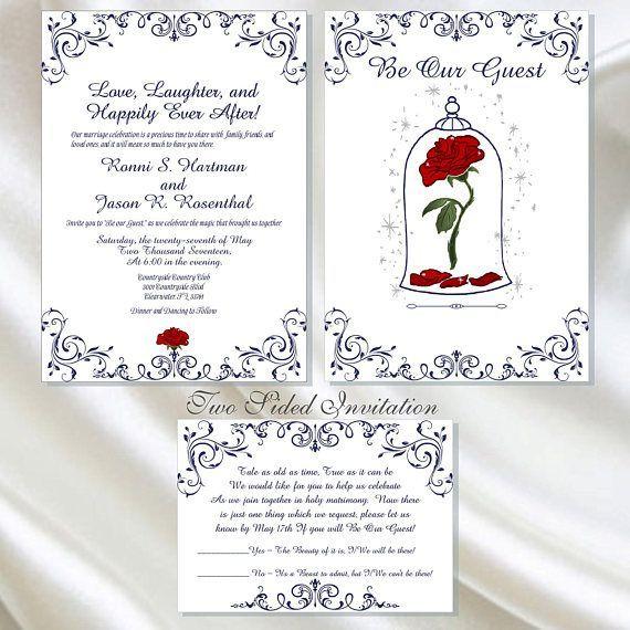 Partecipazioni Matrimonio La Bella E La Bestia.Dyi Digital Enchanted Rose Beauty And The Beast Wedding