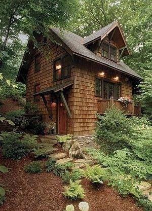 Cedar shingles and brown trim