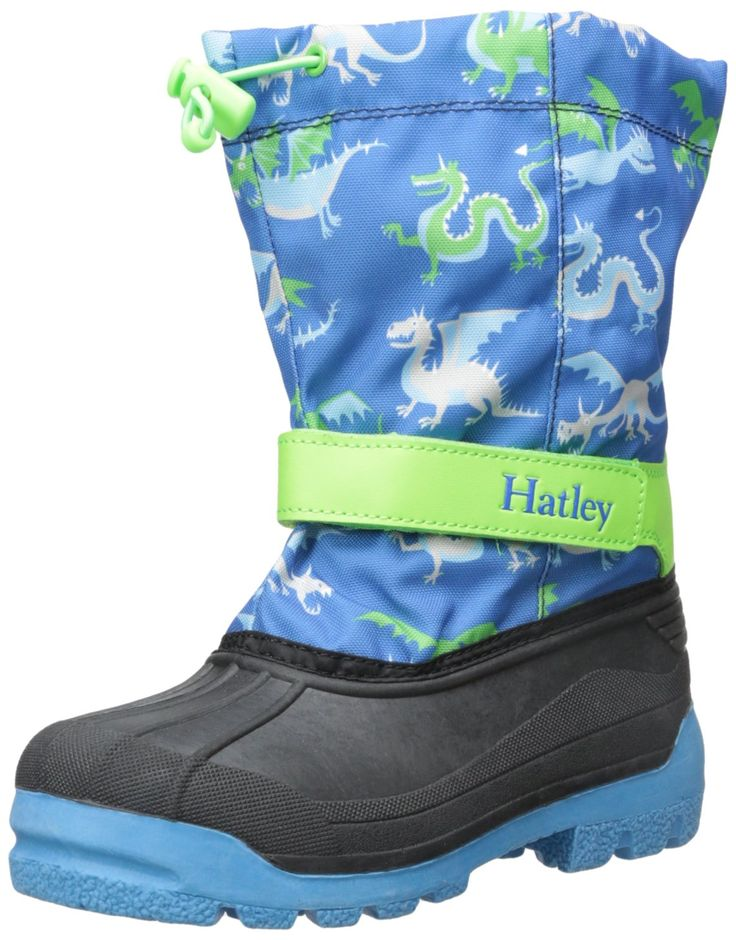 Hatley Boys' Winter Boots Dragons, Blue, 7 M US Little Kid. Patterned winter boot featuring waterproof bootie construction and adjustable bungee strap at opening. Insulation rated to -25 degrees C. Toasty removable lining. Adjustable hook-and-loop strap at ankle.