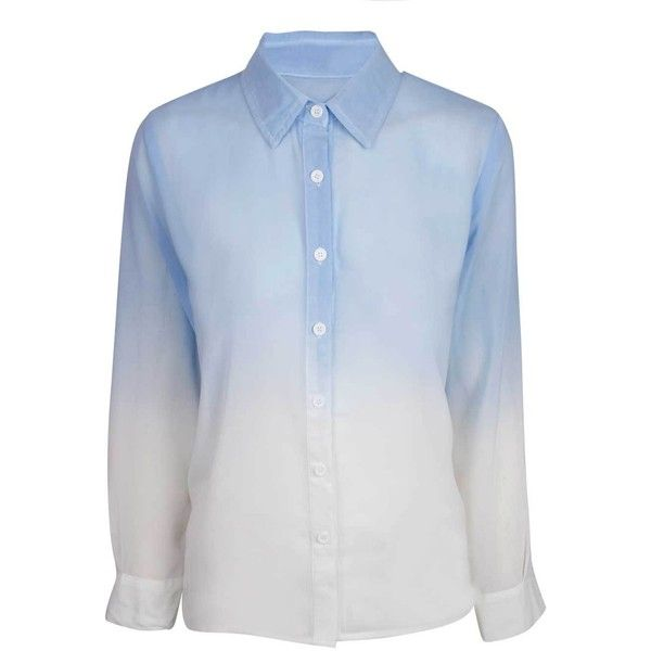 Blue Dip Dye Blouse (£20) ❤ liked on Polyvore featuring tops, blouses, blue top, button front top, blue blouse, chiffon tops and button front blouse