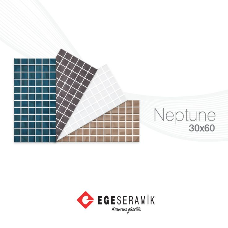 """Neptune serisi, rölyefli ve mozaik görünümlü yüzeyindeki ışık oyunları ve turkuaz, bej ve antiasit renk seçenekleri ile mutfak ve banyolarınız için """"Kusursuz Güzellik"""" vaadediyor."""
