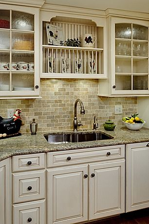 Granite, back splash subway tile, and cabinet color ideas for kitchen renovation (not hardware!)