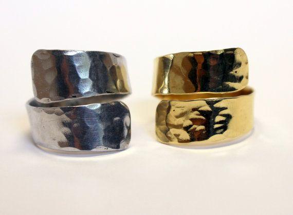 Minimalista martellato oro-argento anello elegante Design