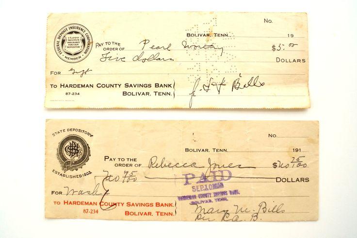 Vintage / Antique Bank Checks (c.1910s) - Paper Ephemera Scrapbook/Journal Supply Altered Art Mixed Media Supply