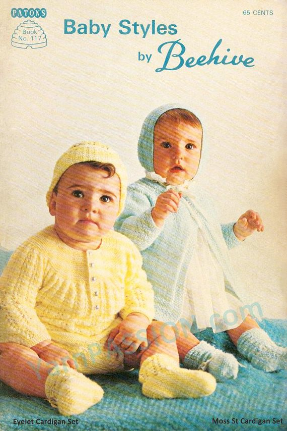 Vintage Patons 117 Baby Layette Moss stitch and Eyelet sets
