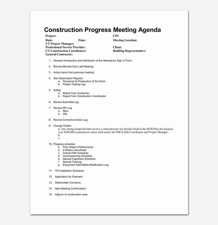 Construction Meeting Minutes Template Elegant Construction Meeting Agenda Template For Word Pdf Format Meeting Agenda Template Agenda Template Meeting Agenda