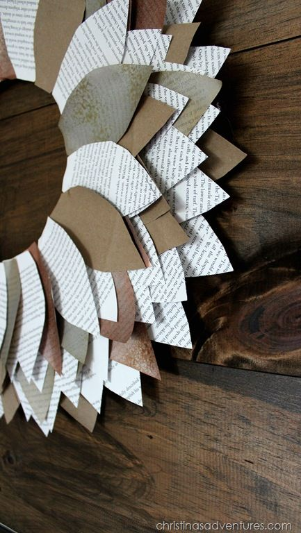 Paper leaf wreath tutorial - seriously easy! Great for fall, but also year-round #wreath #easycraft #bookpages