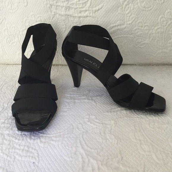 Vanelli black strappy shoes Black Vanelli shoes hardly worn Excellent condition Straps are black elastic Vaneli Shoes
