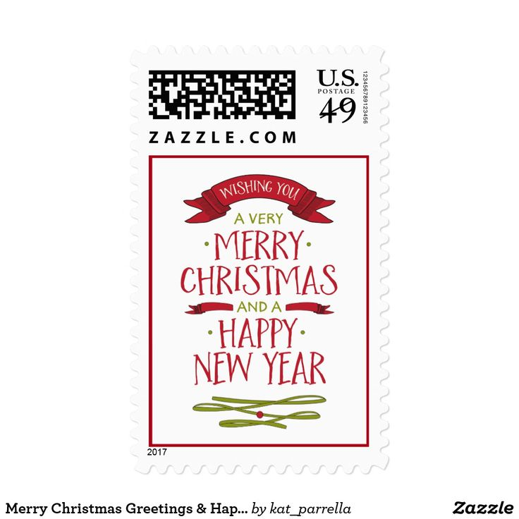 Merry Christmas Greetings & Happy New Year Postage Festive banners in red and green decorate this playful and fun greeting that wishes family and friends a very Merry Christmas and a Happy New Year.