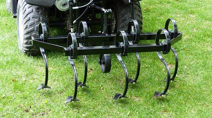 Rear cultivator attachment for quad bike. The ATV Rear Hydraulic Cultivator attaches easily to a quad bike to transform it into a useful piece of farm equipment that will pierce, stir and pulverise the soil into a fine tilt ready for planting.  For more info : http://www.fresh-group.com/atv-rear-hydraulic-cultivator.html