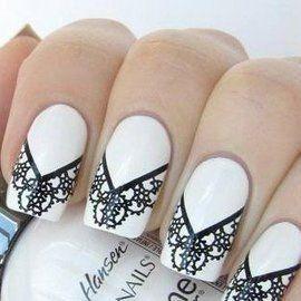 elegantes uas en color blanco decoradas con hermosos diseos en negro lineales y con dibujos