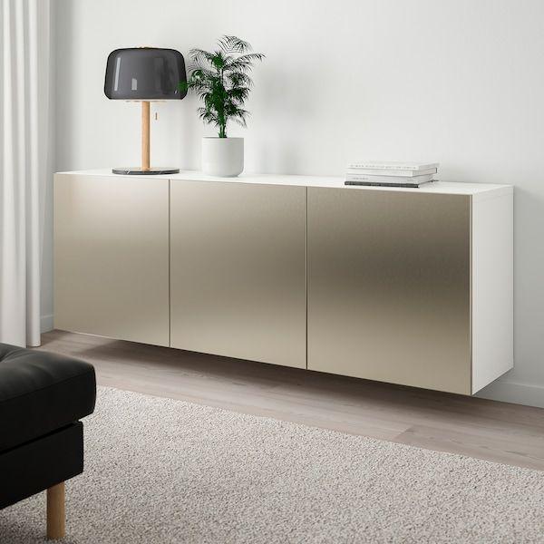 Besta Kastencombinatie Voor Wandmontage Wit Riksviken Licht Bronseffect 180x42x64 Cm Ikea In 2020 Ikea Innenraum Einrichten Und Wohnen Wohnzimmer Kuchenschrank